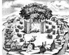 Прусское поселение Ромоле со святилищем в центре. Старинная гравюра.
