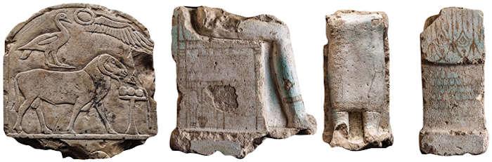 Рельеф (слева) и остатки колонн остаются (справа)