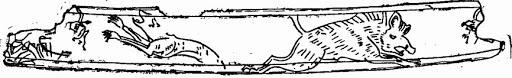 Обломок накладки от седла с изображением волка и кабана. Кость. Найден в кургане у села Чир-Юрт
