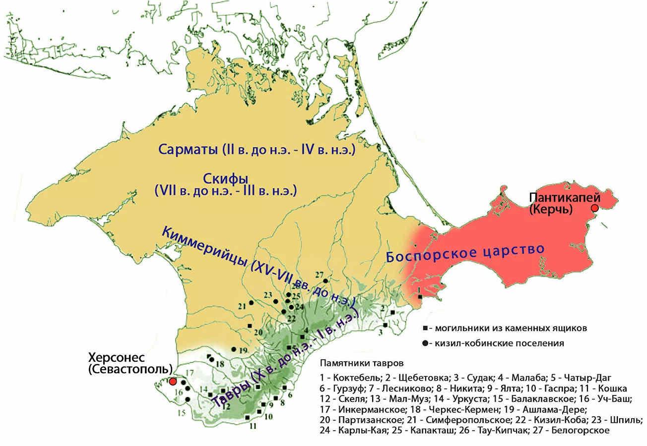 Памятники тавров на карте Крыма