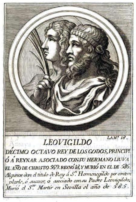 Леовигильд и его сын Герменегильд. Гравюра XVIII века