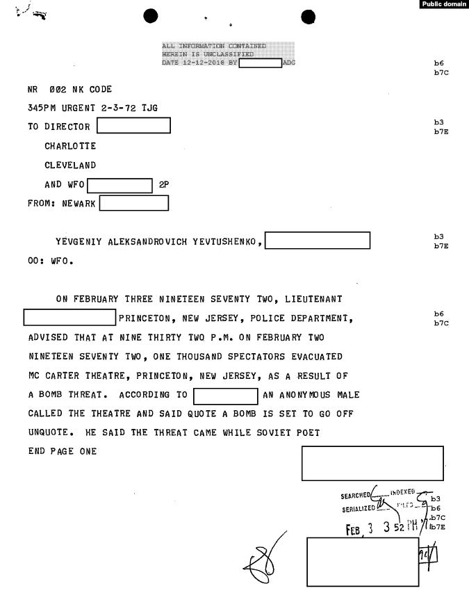 Донесение об инциденте с бомбой в Принстоне (ближе к концу, где говорится о протестах на выступлениях, 1972)