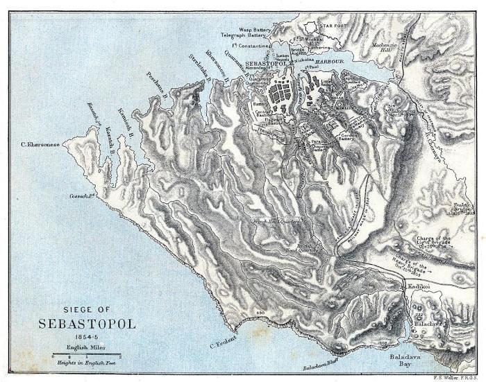 Историческая карта, показывающая территорию Севастополя и Балаклавы во время осады