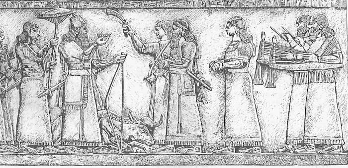 Ритуальная встреча ассирийского царя Ашшурнацирапала II после удачной охоты (Лувр)