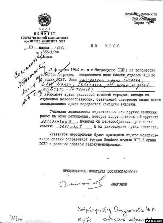 Секретное письмо Юрия Андропова об уничтожении трупов, 1970