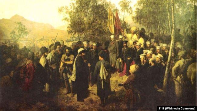 Пленный Шамиль перед главнокомандующим князем Барятинским