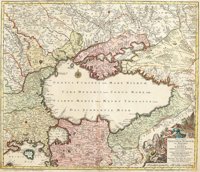 Крымское ханство («Малая Татария») на карте немецкого издателя Матеуса Зойтера, 1740 года