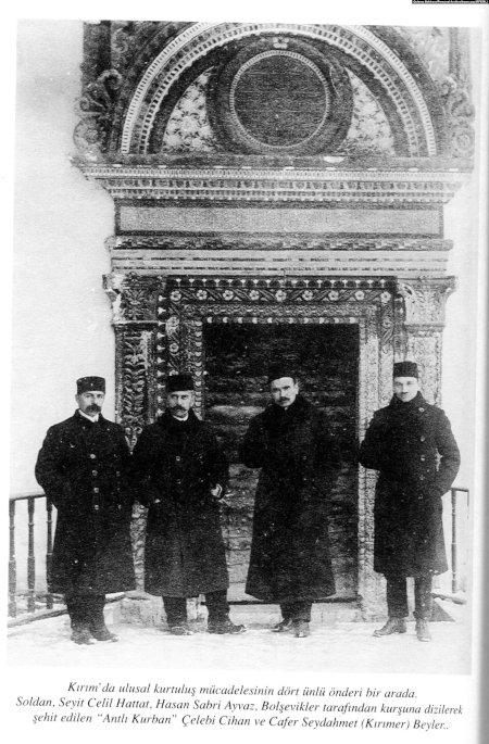 Лидеры Курултая. Слева направо: Сеитджелиль Хаттатов, Асан-Сабри Айвазов, Номан Челебиджихан, Джафер Сейдамет