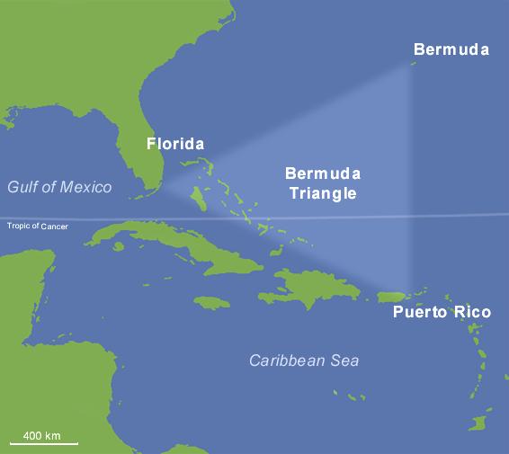 В этом районе, обычно именуемом Бермудским треугольником, исчезли без следа (после 1945 года) более 100 самолетов и судов (в том числе подводных лодок) и более тысячи человек
